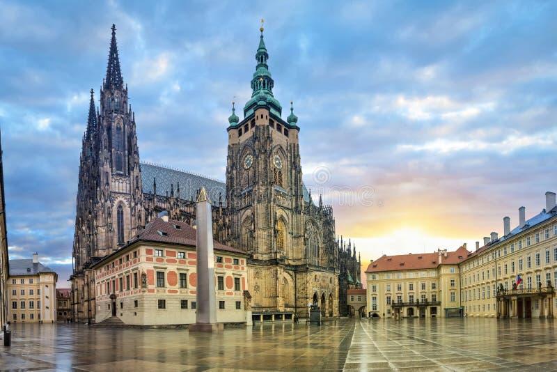 St. Vitus Cathedral in Prague, Czechia. St. Vitus Cathedral in Prague Castle complex in Prague, Czech Republic HDR image stock image