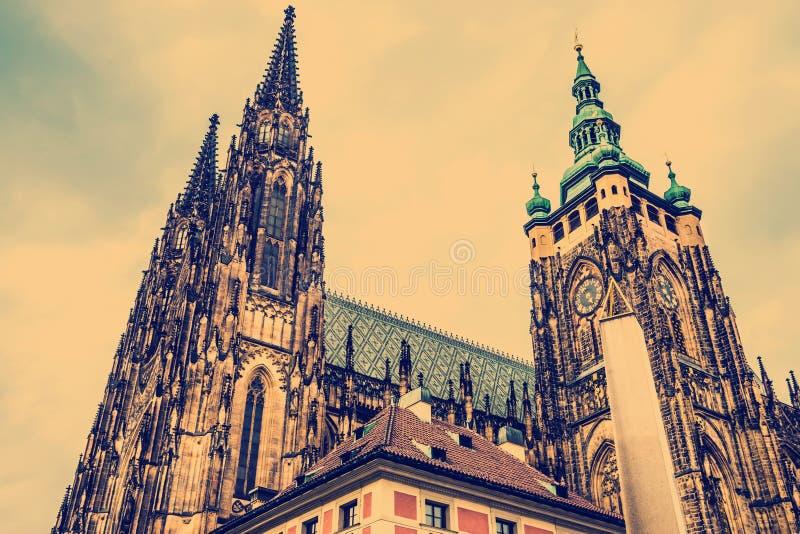 St Vitus Cathedral Prague, Tjeckien royaltyfri bild