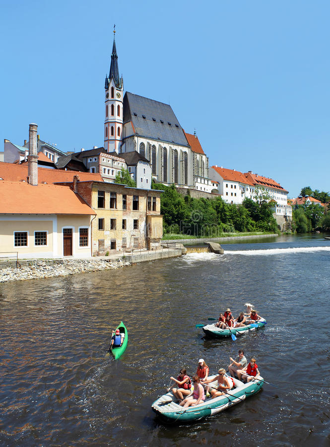 Download St. Vitus Cathedral And Rafting On Vltava River Editorial Photo - Image of heritage, cesky: 23363851