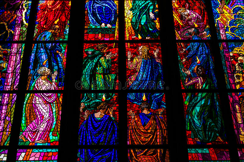 St Vitus Cathedral Stained Glass Window fotos de stock