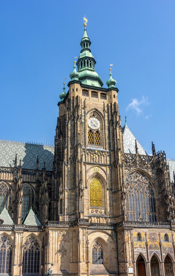 St. Vitus Cathedral tower in Prague Castle courtyard, Czech Republic stock photography