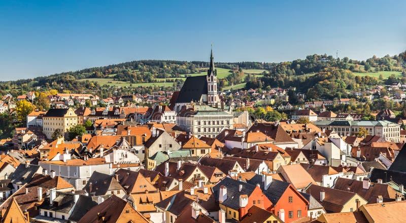 St. Vitus Church and cityscape Cesky Krumlov stock photo