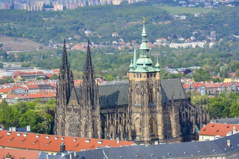 St Vitus Kathedraal in het Kasteel van Praag, Tsjechische Republiek stock afbeeldingen