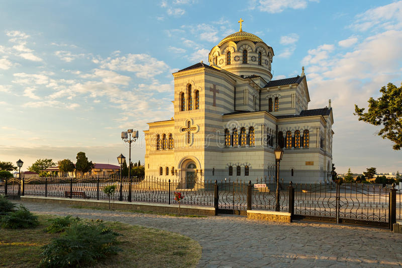 St Vladimirs kathedraal in Chersonesus dichtbij Sebastopol stock foto