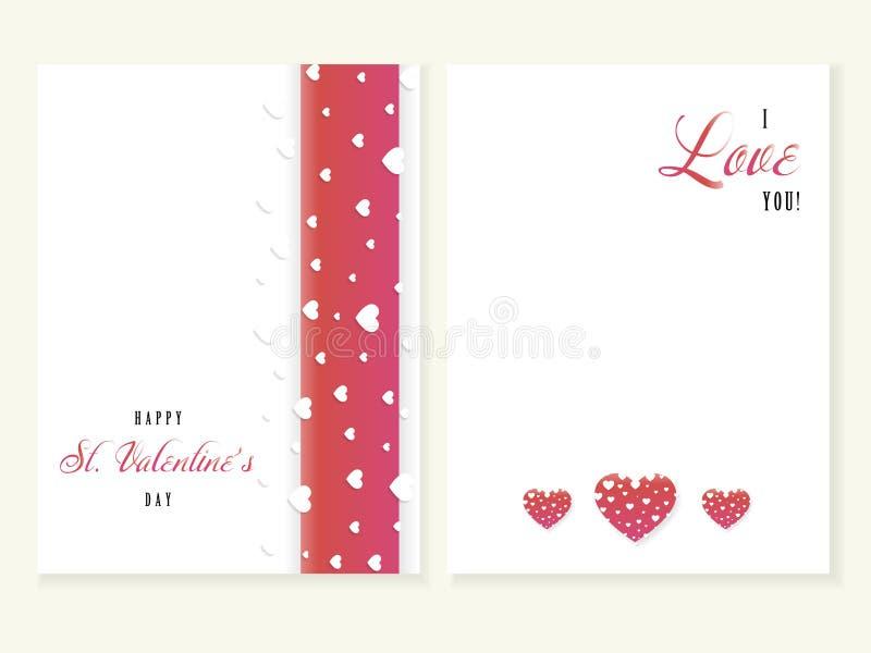 St walentynki kartka z pozdrowieniami, kocham ciebie, wektor ilustracji