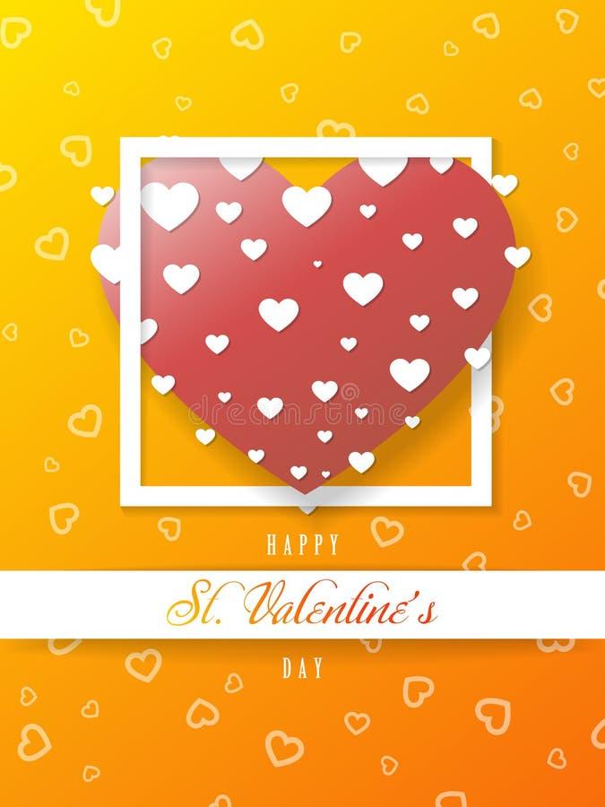 St walentynki pomarańczowy kartka z pozdrowieniami, duży serce, wektor royalty ilustracja