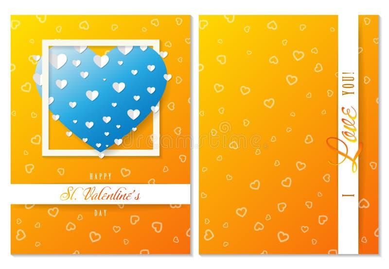 St walentynki pomarańczowy kartka z pozdrowieniami, serca i miłość, wektor ilustracji