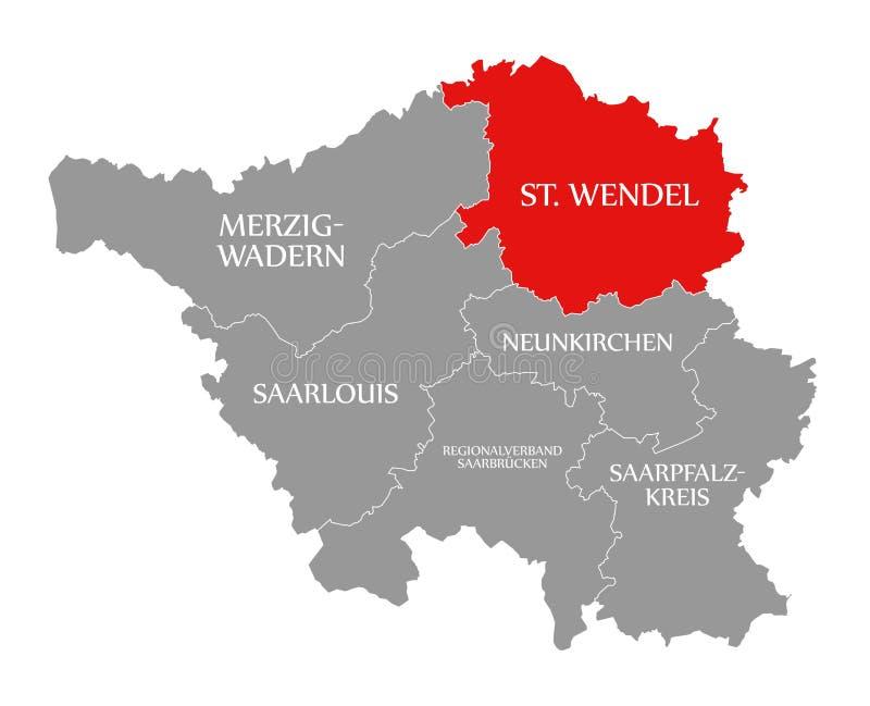 St Wendel czerwień podkreślająca w mapie Saarland Niemcy DE royalty ilustracja