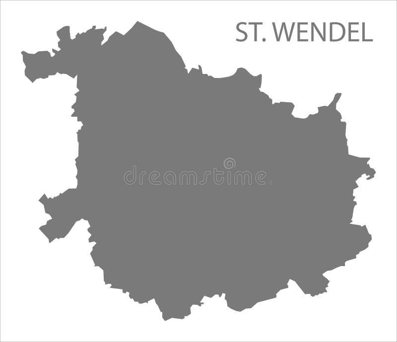 St Wendel okręgu administracyjnego popielata mapa Saarland Niemcy DE royalty ilustracja