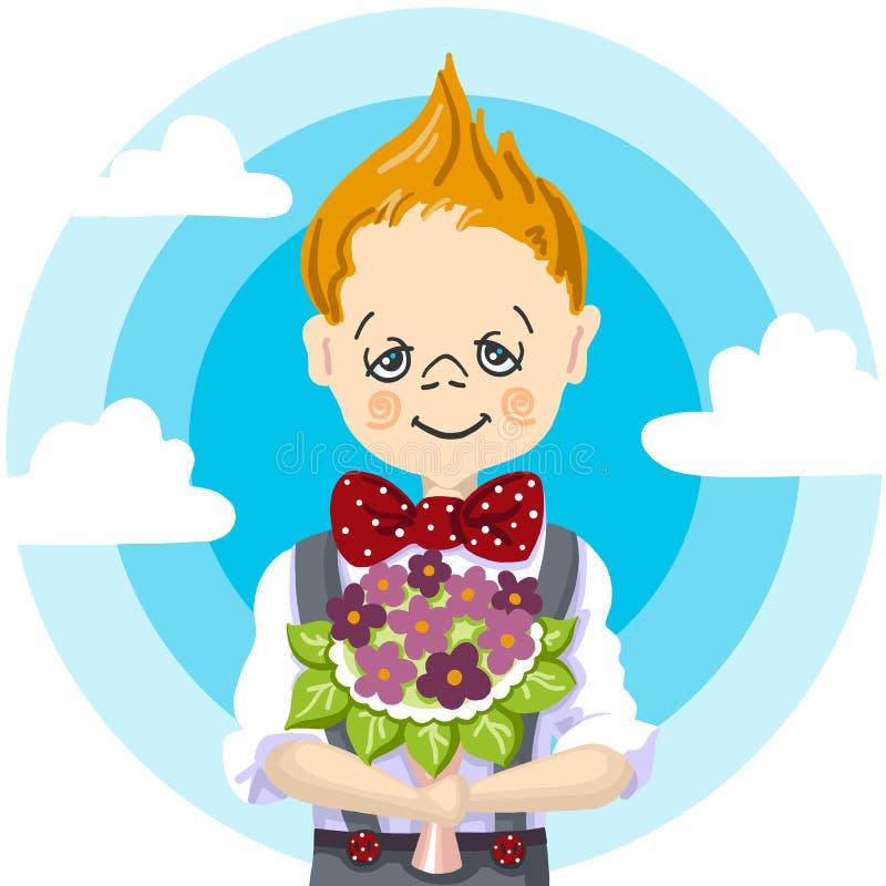 1st Wrzesień, dzień powszedni edukacja, uśmiecha się szkolnej chłopiec blondyn który bierze bukieta kwiaty nauczyciel, mama, dzie royalty ilustracja