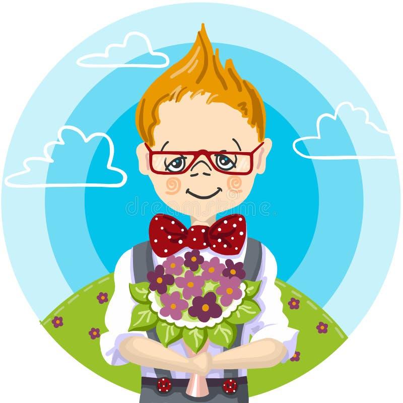 1st Wrzesień, kolor ręki farby uśmiech szkolnej chłopiec szkła remis jego nauczyciel którym przy dawać bukieta kwiaty chce zdjęcia royalty free