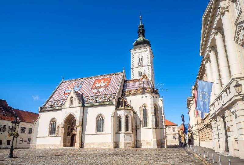 St Zaznacza ` s farnego kościół w Zagreb Chorwacja, Europa obrazy stock