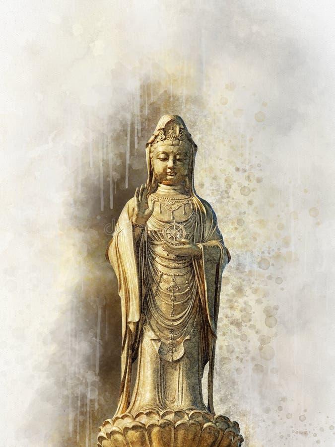 Stać Buddha statuę i delikatnie zamazanego akwareli tło ilustracja wektor