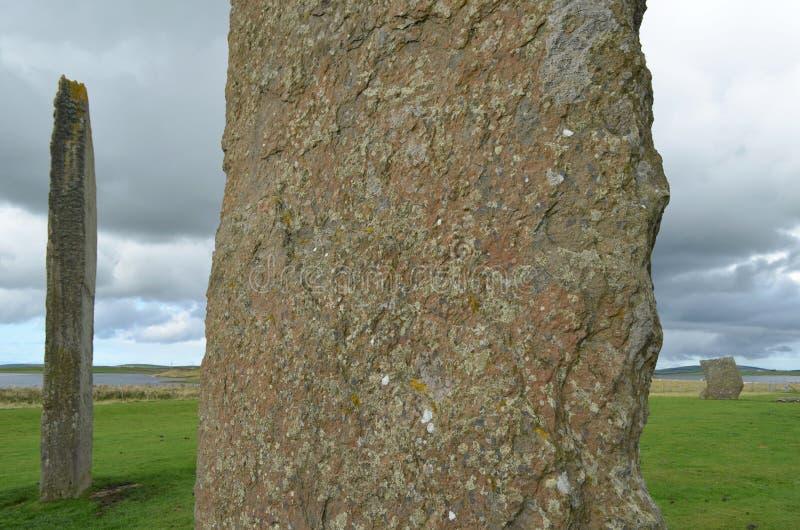 Stać kamienie Stenness, Neolityczni megality w wyspie stały ląd Orkney, Szkocja zdjęcia stock