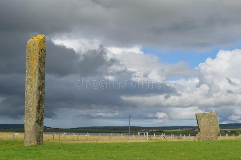 Stać kamienie Stenness, Neolityczni megality w wyspie stały ląd Orkney, Szkocja obraz royalty free