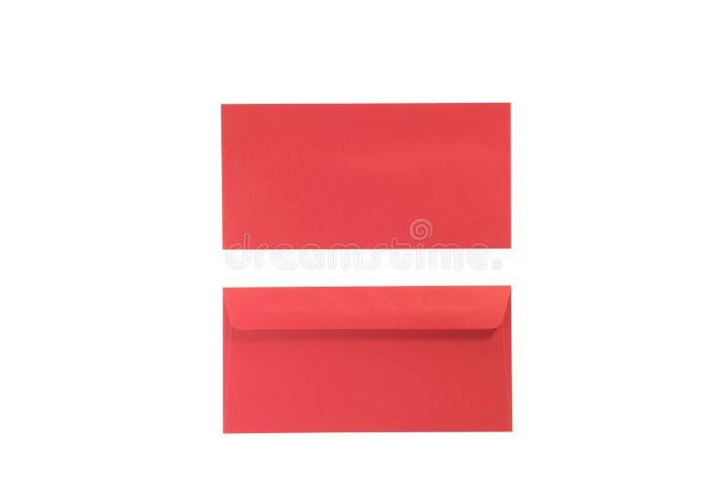 Stać na czele i tylne czerwieni koperty na odosobnionym bielu zdjęcia royalty free