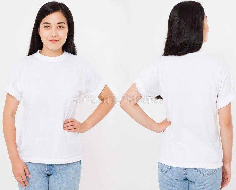 Stać na czele i tylni widoki młody azjata, koreańska seksowna kobieta w eleganckiej koszulce na białym tle Egzamin próbny up dla  obrazy royalty free