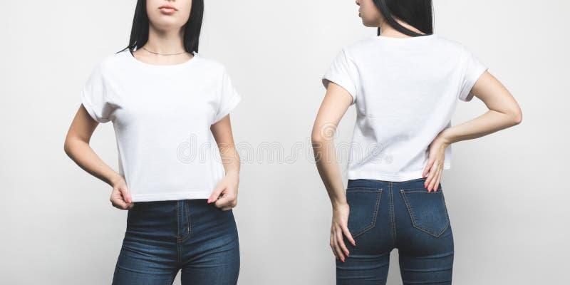 stać na czele i tylny widok młoda kobieta w pustej koszulce fotografia royalty free