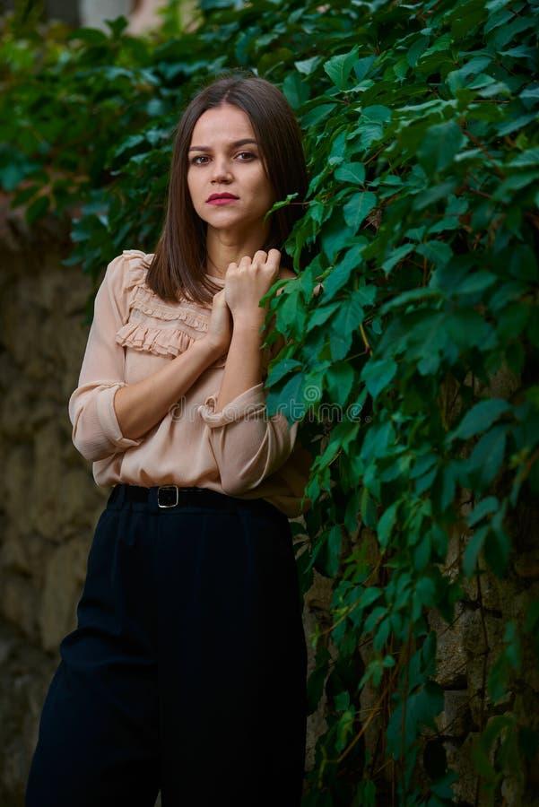 Stać przy kamiennym ogrodzeniem w zielonych liściach zdjęcie stock