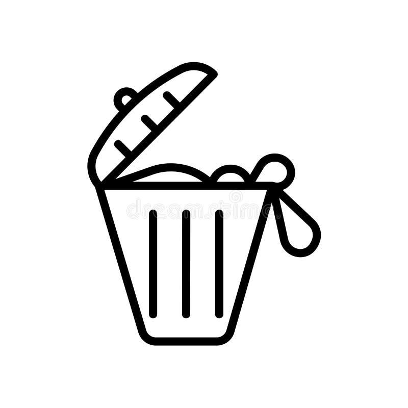 stałego odpady ikona odizolowywająca na białym tle royalty ilustracja