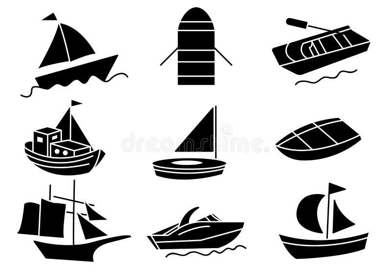 Stały ikony łodzi set ilustracji