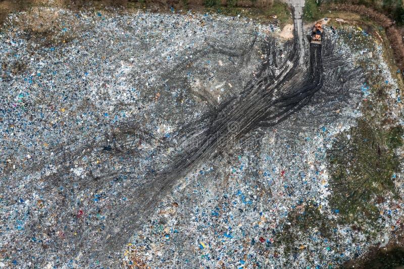 Stały jałowy usyp, widok z lotu ptaka Zanieczyszczenie od odpady, Polska obraz royalty free