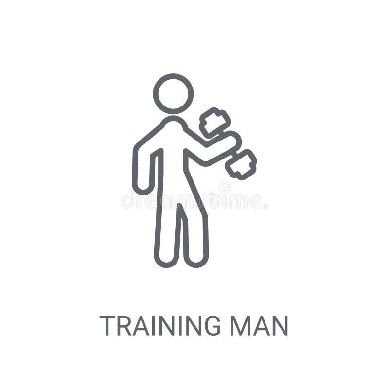 Stażowa mężczyzna ikona Modny szkolenie mężczyzny logo pojęcie na białym bac ilustracji