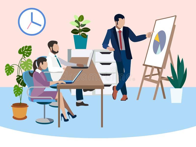 Stażowi przyszłościowi pracownicy Biurowa praca, raport W minimalisty stylu Płaski isometric wektor ilustracji
