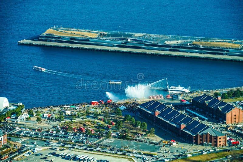 Stażowy krajobraz w Yokohama ogienia nowego roku strażaków wydarzeniu zdjęcie stock