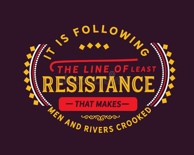 Sta seguendo la linea di meno resistenza che rende gli uomini ed i fiumi curvati illustrazione vettoriale