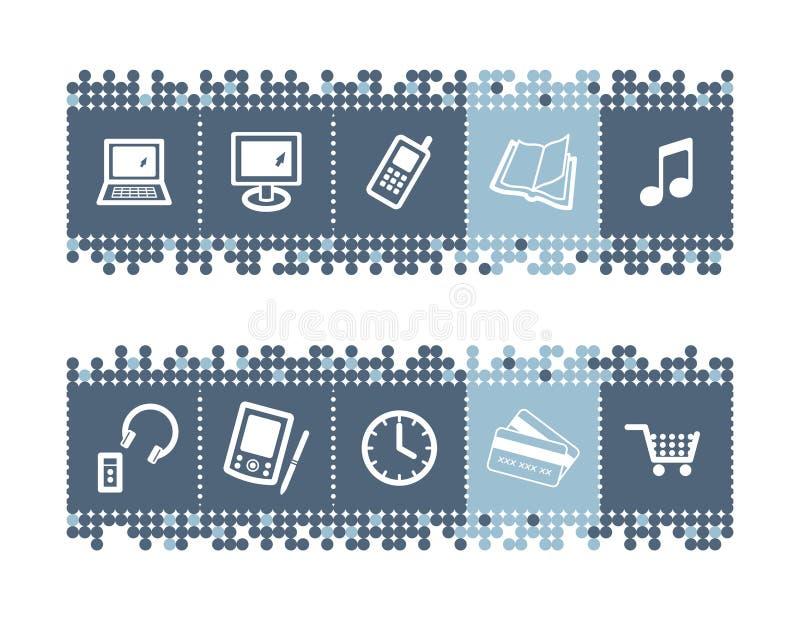 staaf met e-winkel pictogrammen stock illustratie