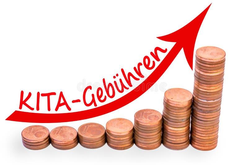 Staafdiagram van muntstukken met stijgende het richten pijl wordt gemaakt en het Duitse woord voor kleuterschoolprijzen die stock fotografie