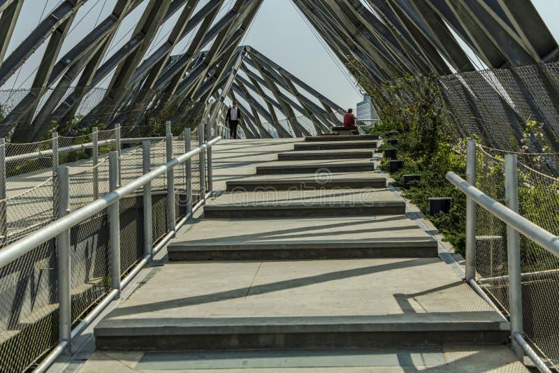 Staalbrug in het midden van de stad stock afbeelding