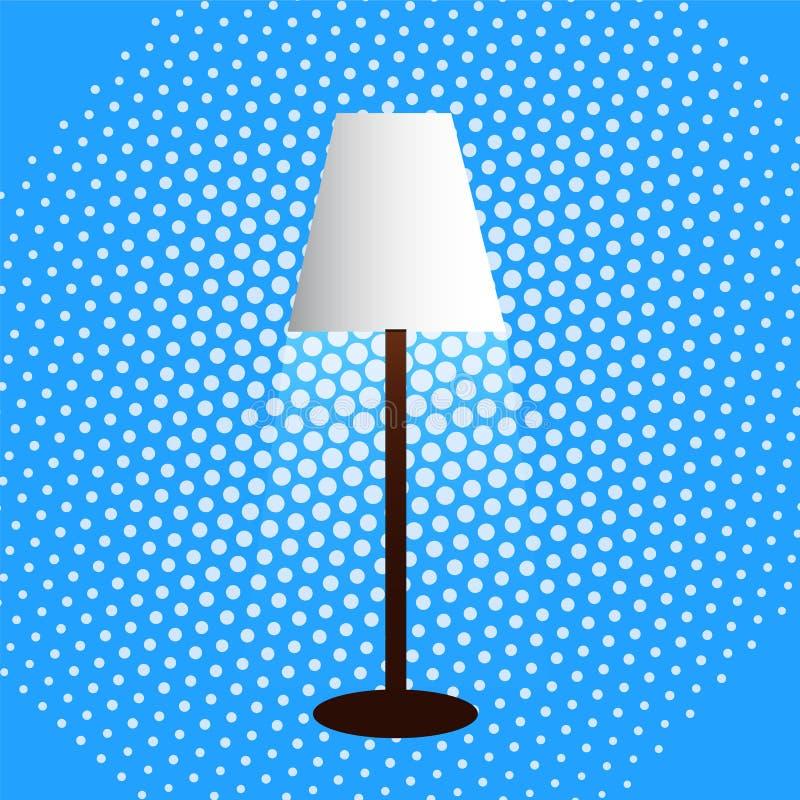 Staande lamp, lampekap, verspreid licht, puntachtergrond stock illustratie