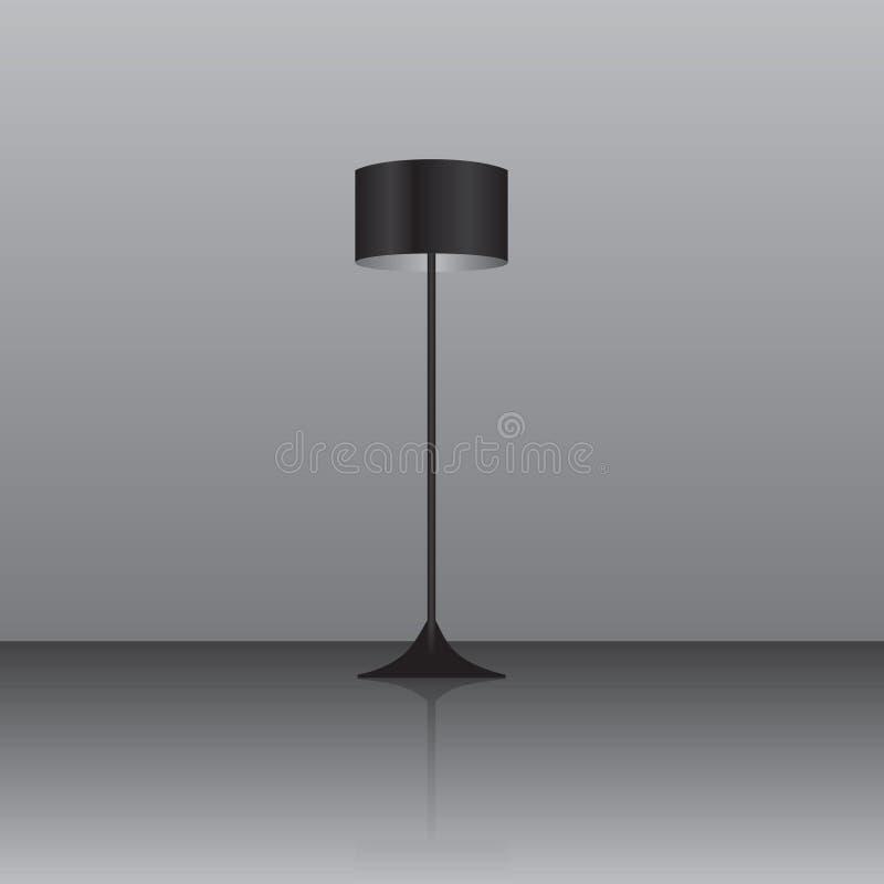 Staande lamp met een zwarte lampekap stock illustratie