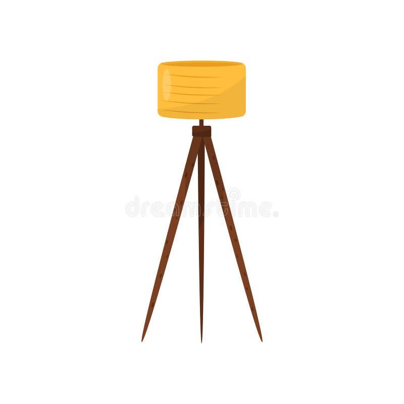 Staande lamp met gele lampekap en drie houten benen Punt voor modern binnenlands ontwerp Element van huisdecor vlak vector illustratie