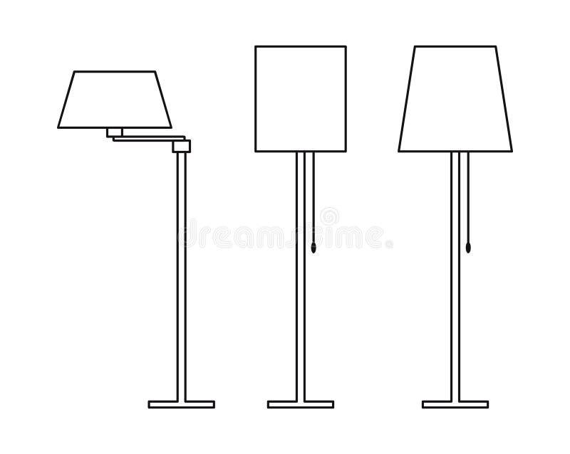 Staande lampen Overzichtsbeeld van huismeubilair vector illustratie