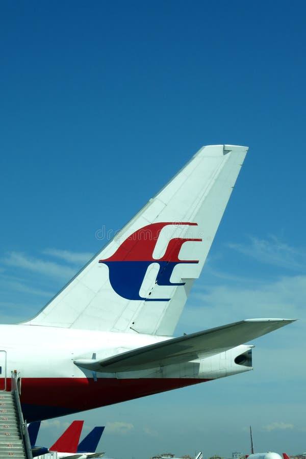 Staart van Maleis Boeing 777 royalty-vrije stock foto