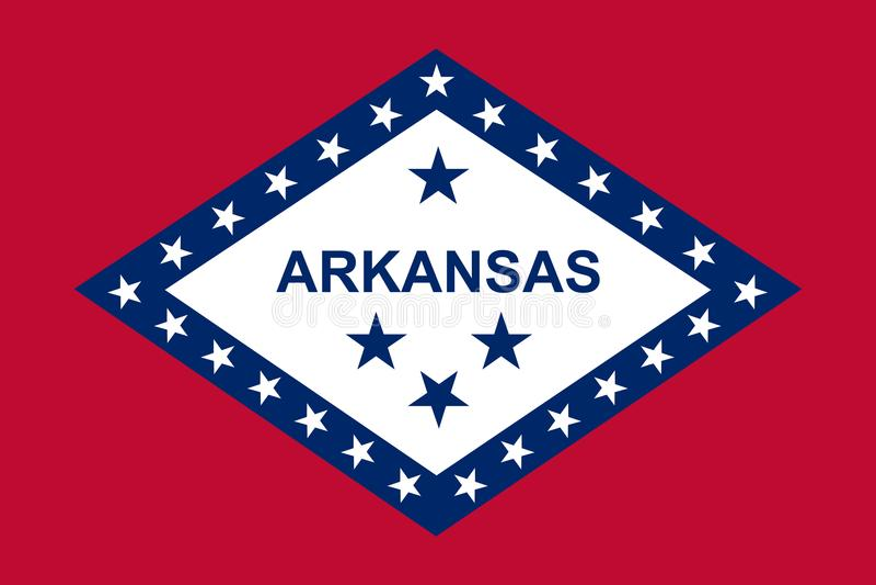 Staat Arkansas-Markierungsfahne Auch im corel abgehobenen Betrag lizenzfreie abbildung