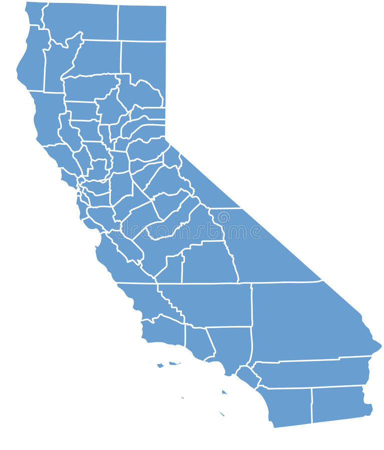 Staat California durch Grafschaften lizenzfreie abbildung