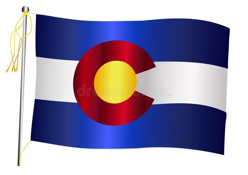 Staat Colorado-wellenartig bewegende Flagge und Fahnenmast vektor abbildung