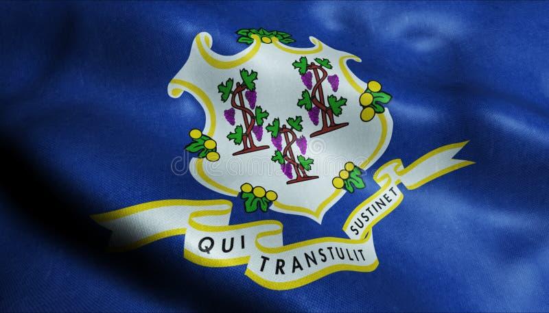 Staat Connecticut-wellenartig bewegende Flagge in 3D stock abbildung