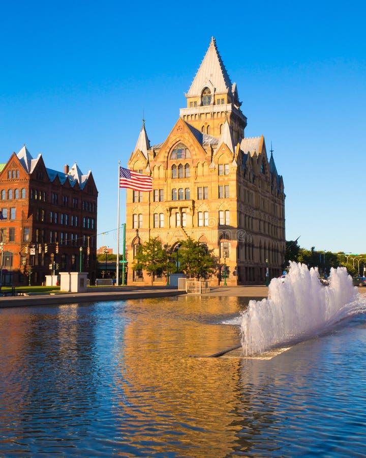 Staat de van de binnenstad van Syracuse New York stock fotografie
