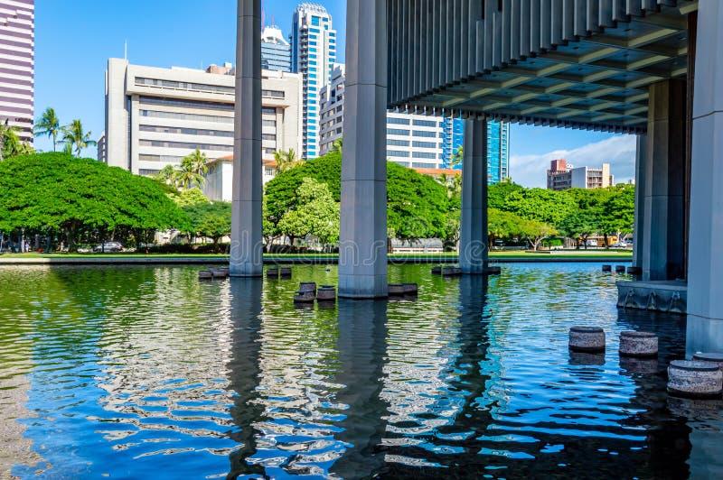 Staat Hawaiis-Kapitol-reflektierendes Pool stockbilder