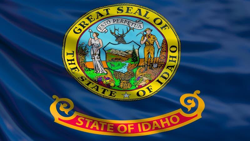 Staat Idaho-Markierungsfahne Wellenartig bewegende Flagge von Idaho-Staat, die Vereinigten Staaten von Amerika vektor abbildung