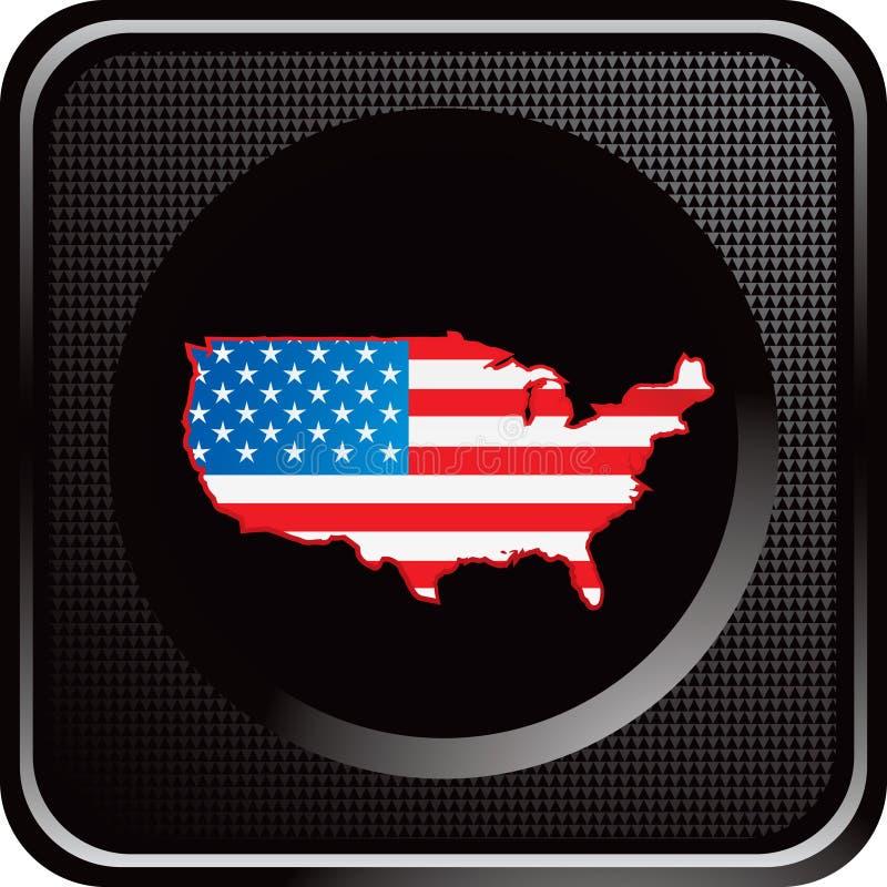 Staat-Ikonenmarkierungsfahne auf schwarzer Web-Taste vektor abbildung