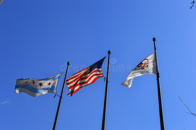 Staat Illinois-Flagge, US-Flagge und Chicago-Flagge stockfoto
