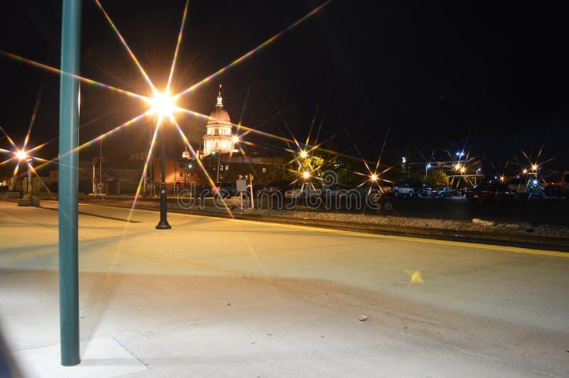 Staat Illinois-Kapitol nachts lizenzfreies stockbild