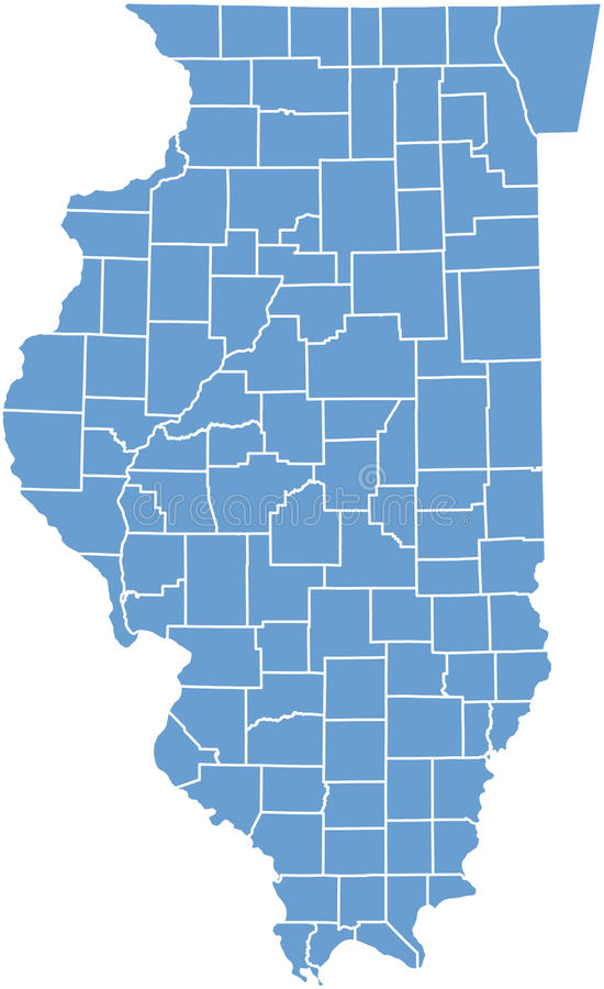 Staat Illinoiskarte Durch Grafschaften Lizenzfreie Stockfotografie