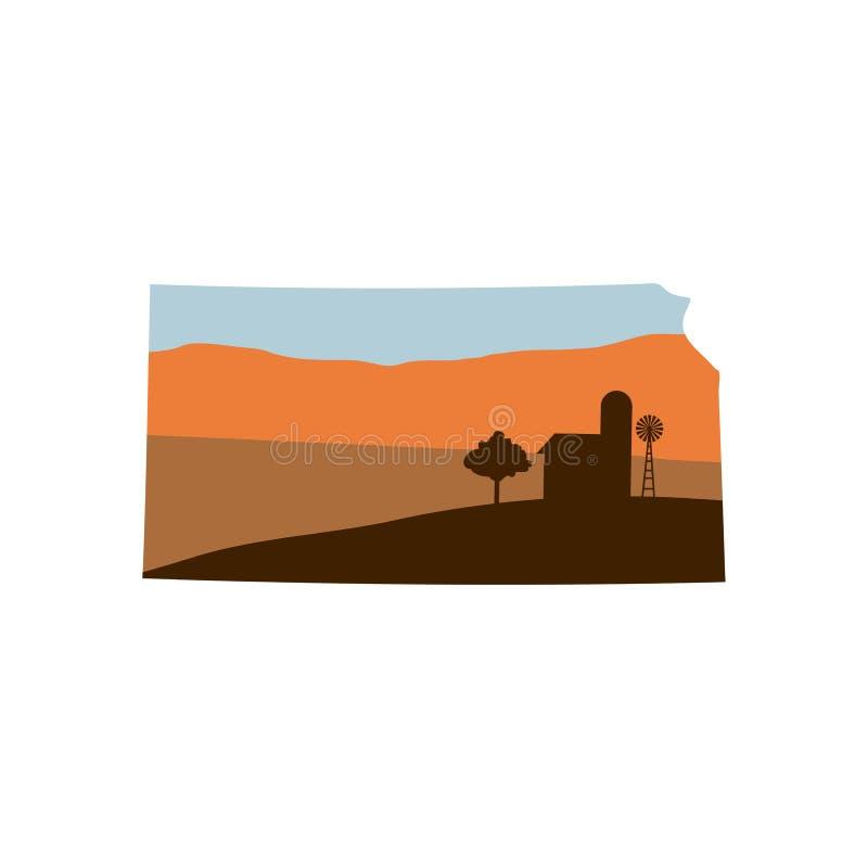 Staat Kansas-Form mit Bauernhof der Windmühle an des Sonnenuntergang-w, an der Scheune und an einer T vektor abbildung